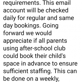 After School Club E Mail Address